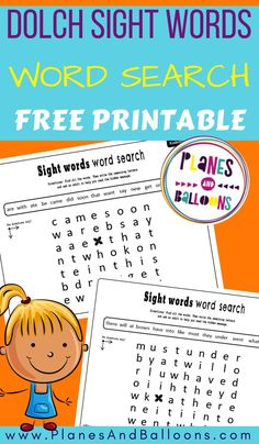 Free printable word search for kindergarten - Dolch sight words worksheets. Kindergarten Word Search, Kindergarten Sight Word Games, Sight Word Activities, Phonics Activities, Listening Activities, Kindergarten Learning, Learning Games, Literacy Activities, Learning Resources