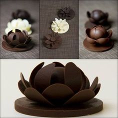 """""""Find out how to make these. White Chocolate Lilies floating on a Dark Choc Mud Cake covered in blue Swiss Meringue Buttercream, a modelling chocolate lilly pad underneath."""" The link is the pic! Chocolate Work, Chocolate Flowers, Modeling Chocolate, White Chocolate, Chocolate Cake, Chocolate Bowls, Chocolate Garnishes, Chocolate Recipes, Cake Decorating Techniques"""