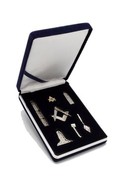 Masonic Working Tools Miniature Silver with Lapel Pin - CE118XWU25H - Brooches & Pins  #jewellrix #Brooches #Pins #jewelry #fashionstyle