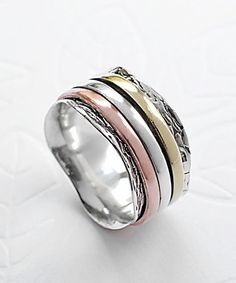 Another great find on #zulily! Tri-Tone Spinning Waves Ring #zulilyfinds