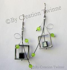 lime green gray silver earrings funky design by creationtwinne Bridesmaid Earrings, Bridal Earrings, Bridesmaid Gifts, Bridesmaids, Green Earrings, Silver Earrings, Wire Earrings, Turquoise, Aqua