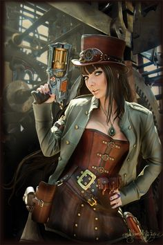 steampunk hat and goggles and a cool weapon