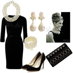 Classic Black Dress & Pearls, created by fitzfamfive on Polyvore