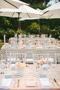 Peach and Mint... And CHEVRON! @Courtney Lloyd should be YOUR wedding colors~ :) delish!