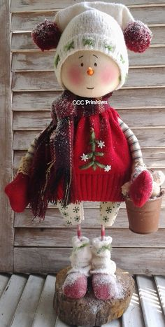 Primitive Christmas Snowman Jake Paper Pattern by CCCPrimitives, $12.00