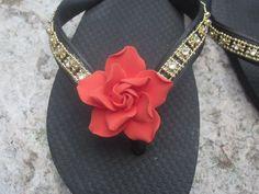 Flip Flops/Wedges for Bride BRIDESMAIDSGold by RocktheFlops, $38.00