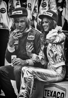British 1976 World Champion James Hunt, a Schlitz and cigarette in hand and Penthouse Pet by his side, relaxes on his still warm Marlboro McLaren after winning the 1977 United States Grand Prix at Watkins Glen. James Hunt, Formula 1, Grand Prix, British F1, Gp Moto, Aryton Senna, Jochen Rindt, Matra, Gilles Villeneuve