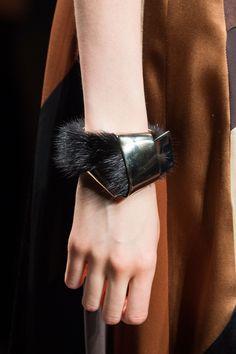 Fur bracelet for Fall 2015 Ferragamo   - ELLE.com