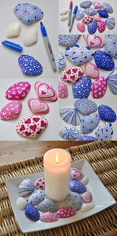 100 Gorgeous DIY Stone, Rock, and Pebble Crafts To Beautify Your Life - Usefull Information Seashell Painting, Seashell Art, Seashell Crafts, Beach Crafts, Pebble Painting, Pebble Art, Stone Painting, Stone Crafts, Rock Crafts