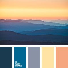 The combination of shades of dark blue and yellow colours in this palette looks noble and balanced thanks to the softness of the transitional tones. Sunset Color Palette, Sunrise Colors, Blue Colour Palette, Color Azul, Apartment Color Schemes, Bedroom Color Schemes, Colour Schemes, Popular Color Schemes, Color Combinations
