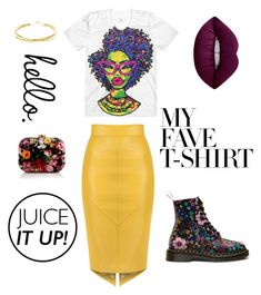"""hello."" by annabelleleekelton ❤ liked on Polyvore featuring WithChic, Lime Crime, Lana Jewelry and MyFaveTshirt"
