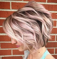 Wavy Light Pastel Pink Bob