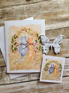 Watercolour illustration greeting card plus matching gift tag. Two cats in whimsy forest Watercolour Illustration, Watercolor Cards, Greeting & Note Cards, Matching Gifts, Sell On Etsy, White Envelopes, I Card, Gift Tags, Card Making
