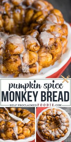 Pumpkin Spice Monkey Bread is a homemade monkey bread recipe ful of cinnamon fall flavor. Overnight monkey bread from scratch is the best! Who doesn't love some naughty cinnamon sugar monkey bread? There's no better way to enjoy a homemade monkey bread recipe than to infuse it with the fall flavors of pumpkin spice and everything nice! #monkeybread #pumpkin #pumpkinspice #homemade #overnight #fromscratch #glaze #cinnamon #recipe #dough