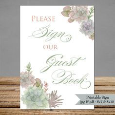 Guestbook Succulent Wedding Signs  Digital Printable by dearemma