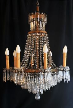 "Early 20th Century, 8 Candle, Brass & Crystal Chandelier ~ Chandelier Featuring well over 425 Crystal Drops & Ropes, with a Unique ""Wedding Cake"" Style Bottom ""Bowl"""