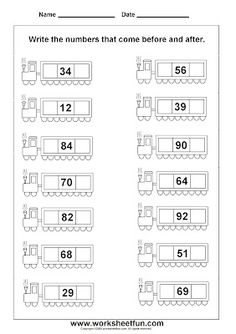 """Before & After"" number worksheet for Kindergarten."