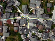 Public art piece reminiscent of a subway map. Lang/Baumann