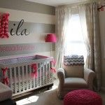 Cherry Blossom Gray Girl Nursery Wide Room Shot