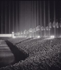 Nazi rally in the Cathedral of Light, 1937 The cathedral of light consisted of 130 anti-aircraft searchlights, at intervals of 12 meters, aimed skyward to create a series of vertical bars surrounding the audience.