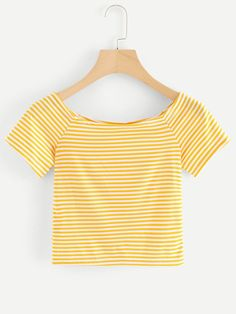 Shop Striped Crop Tee at ROMWE, discover more fashion styles online. Crop Top Outfits, Cool Outfits, Yellow Clothes, Striped Crop Top, Summer Fashion Outfits, Swim Dress, Trendy Dresses, Crop Tee, Aesthetic Clothes
