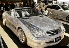 diamond covered mercedes....lol i wouldnt even want to drive this car..lol crazy
