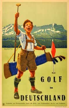 Play Golf in Germany, 1927 - original vintage poster by Evg. Osswald listed on AntikBar.co.uk #GolfDay