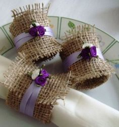 Napkin rings hessian burlap ribbon flower