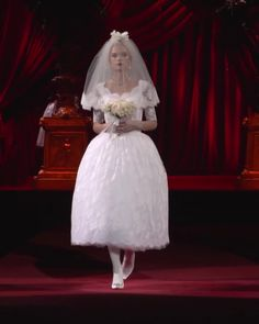 Uniq Tea Length Wedding Dress / Bridal Gown with Half Long Sleeves and a Veil. Fall Winter Woman's Fashion Collection. Runway Show by Dolce & Gabbana Parisian Wedding, Vogue Wedding, Wedding Wear, Wedding Bride, Wedding Gowns, Bridal Outfits, Bridal Dresses, Flower Girl Dresses, Tea Length Wedding Dress