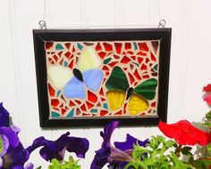 Mosaic Stained Glass Butterfly Sun Catcher by JBsGlassHouse