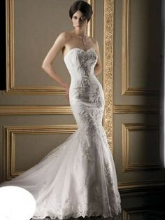 Ultra Sophisticates STYLE 1345  -Strapless sweetheart neck all over lace mermaid attached chapel train.