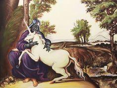 Darth Vader cuddling with a unicorn.