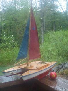 Vintage Toy Catamaran Pond Boat, Seifert, Germany, Marine from gentlemensantiques on Ruby Lane