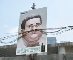 Une campagne d'affichage pour le moins originale imaginée et lancée en Indonésie pour la marque Panasonic et ses rasoirs pour poils du nez !