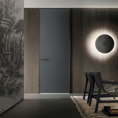 door with slim jamb, structural profile and handle in brown aluminum, grigio ardesia mat lacquered glass