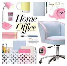 """""""Pastel Home Office"""" by virginia-laurie ❤ liked on Polyvore featuring interior, interiors, interior design, home, home decor, interior decorating, PBteen, Pantone, The Idle Man and Casio"""