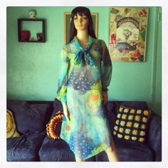 Vintage 1960s Sheer Chiffon Retro Vibrant Floral by VBombVintage, $25.00