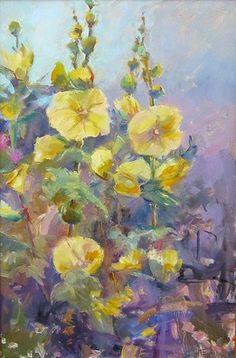 ''Yellow Hollyhocks'' 20x22