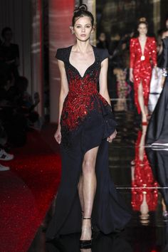 Stunning Black Gown Adorned with Red Beading and Front Leg Split by Zuhair Murad - Spring 2017 Couture