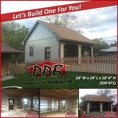 """Two Car Garage 24' W x 24' L x 10' 4"""" H 24' Standard Trusses, 2' on Center, 8/12 Pitch  Colors: Siding Color: Clay Roofing Color: 30 Year Architectural Shingles with 1/2"""" Plywood Trim Color: Brown  Openings: (2) 9' x 8' Carriage House Garage Doors with Dutch Corners (1) 3068 9-Lite Insulated Entry Door (Customer Supplied) (3) Window Frame Outs (Customer Supplied Windows)  More Details: http://pioneerpolebuildings.com/portfolio/project/24-w-x-24-l-x-10-4-h-id-471-total-cost-contact-us  #PPB…"""