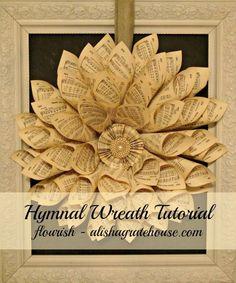 Hymnal Wreath Tutorial | Flourish - alishagratehouse.com
