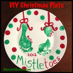 I have my plate I made when I was a kid and the ones my kids made.   Fun idea with the grandsons - DIY Christmas Plate!!!  350 in the oven for 30 minutes