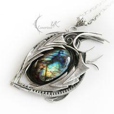 NOQTURX DRACO( Dragon's eye )- silver, labradorite by LUNARIEEN.deviantart.com on @deviantART