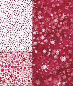 3 Fat Quarters #quilting #fabrics #snowflakes and #confetti One is a Vintage Print of Pink, Dark Red and Red Confetti, the other Two are Snowflakes Prints, One is from Heidi Grace, and the Other is Gorgeous.  Come See these and More Hard to Find or Very Rare Quilt Cotton Fabrics in my Bonanza Booth!  Thank You!  Dee