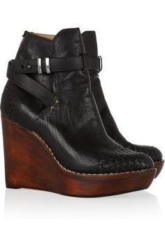 Rag & bone | Emery Wedge leather and wood ankle boots | NET-A-PORTER.COM