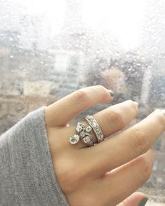 Antique Pear and Platinum Engagement Ring with a vintage diamond eternity band!