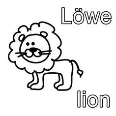 Englisch Lernen Ausmalbild Lowe