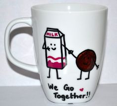 Milk And Cookies  We Go Together Coffee Mug  Cute by DreamAndCraft