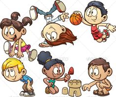 Buy Cartoon Kids Playing by memoangeles on GraphicRiver. Vector clip art illustration with simple gradient. Each on a separate layer. Character Sketches, Character Design Animation, Character Drawing, Drawing Cartoon Characters, Cartoon Drawings, Book Characters, Simple Cartoon, Cartoon Kids, Cartoon Outfits