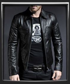 Lynch. This is the black version of Soul Revolver's Lynch Men's leather jacket. The embodiment of cool, these leather jackets feature a unique front pocket design and classic 70's collar. If people don't take you seriously in this leather jacket, they aren't worth your time.